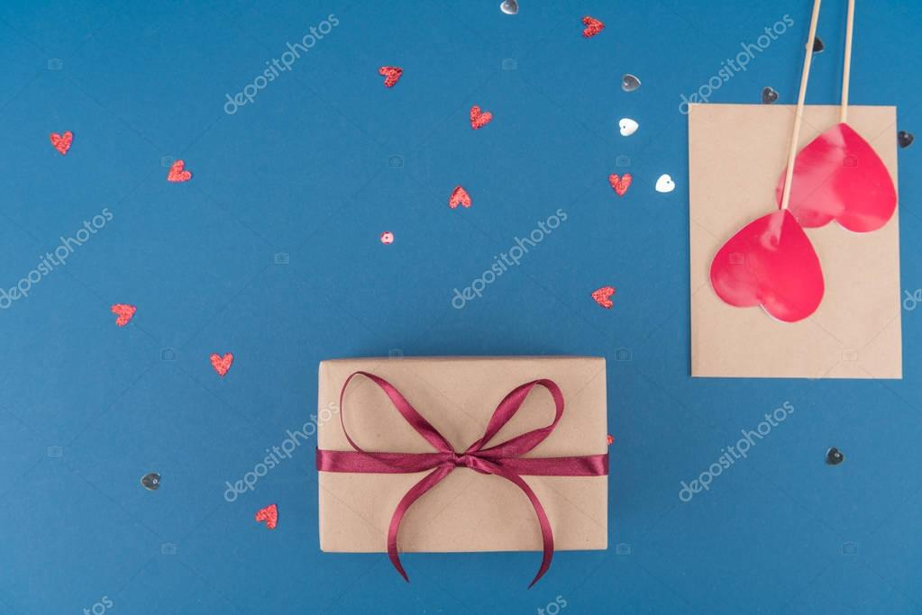 gift box and confetti