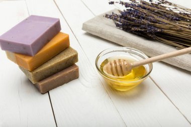 Homemade soap with lavender and honey