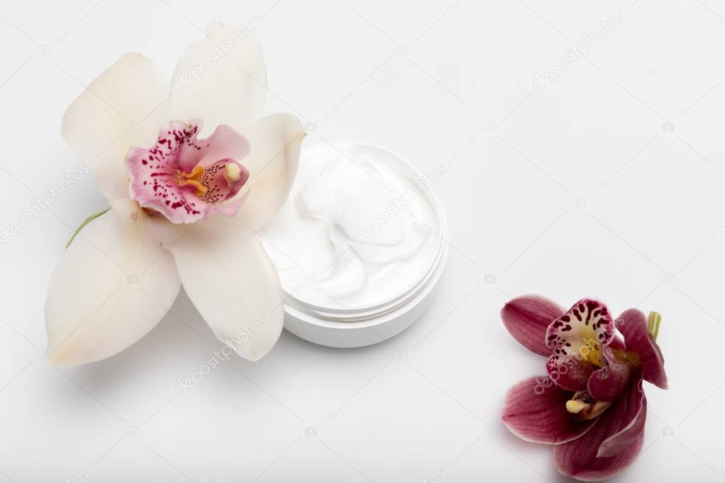 Organic cream with orchids