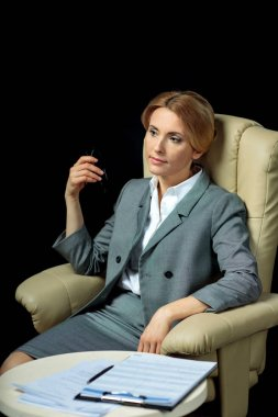 blonde businesswoman in suit