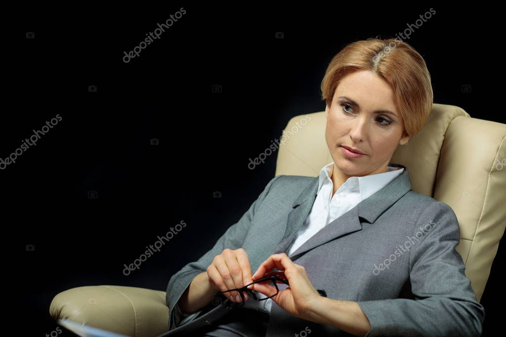 blonde businesswoman in suit