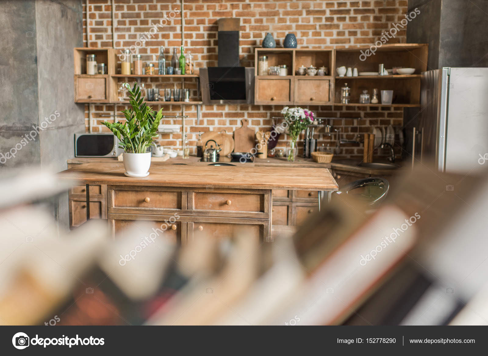 Interior Of Kitchen With Brick Wall In Loft Style Focus On