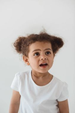 little kid girl with facial expression