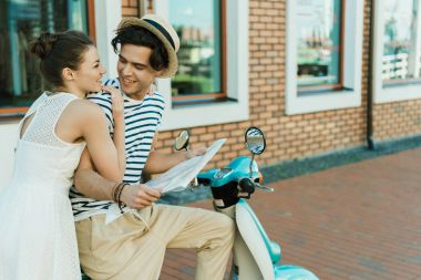 couple in love with map