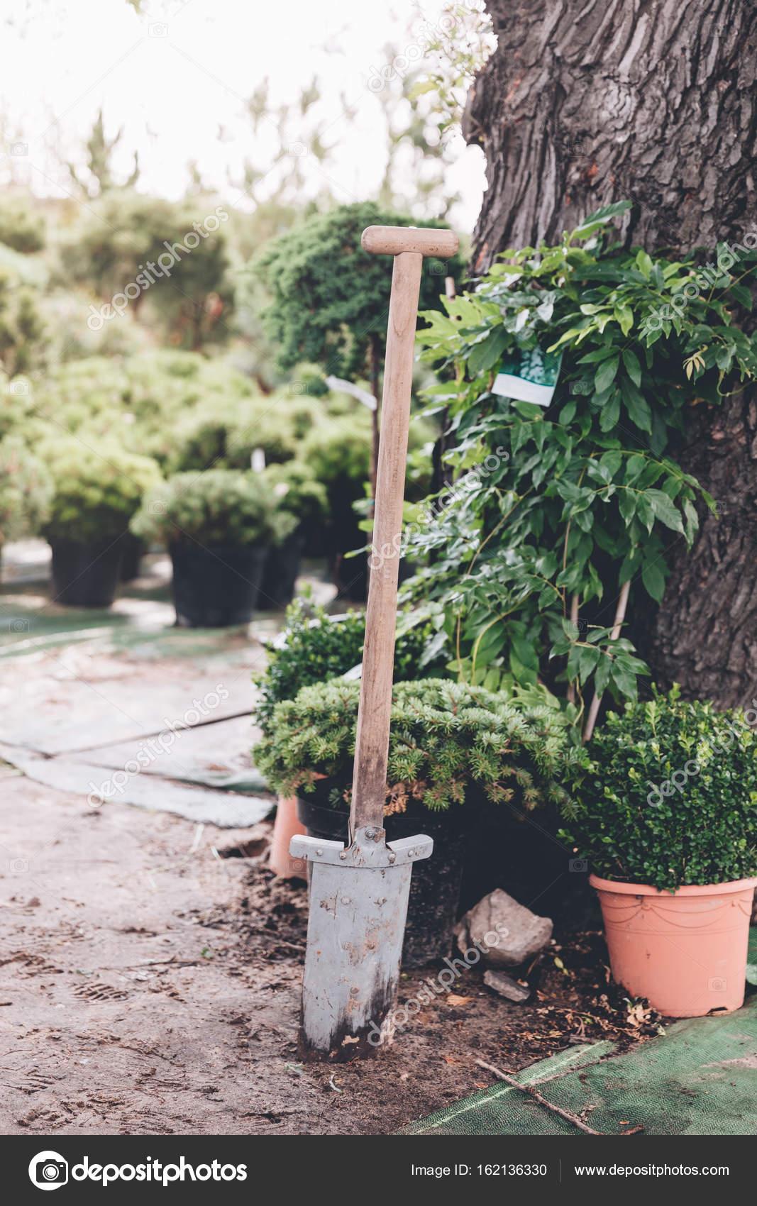 schmutzige Spaten im Garten — Stockfoto © SashaKhalabuzar #162136330