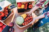 Fotografie farmář prodává zeleninu na trhu