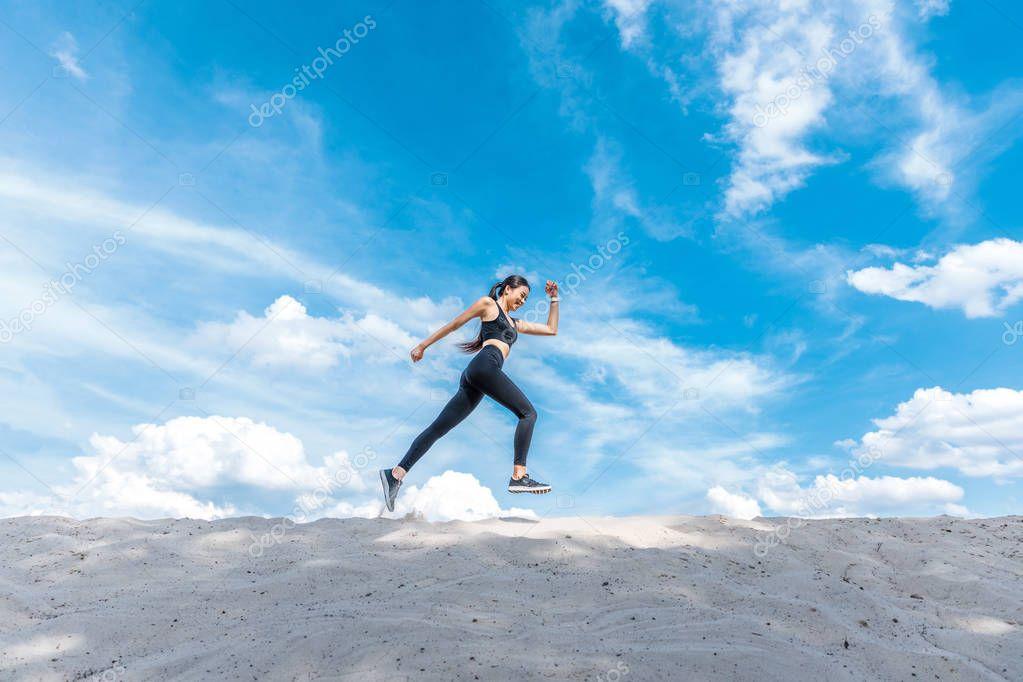attractive sportswoman running