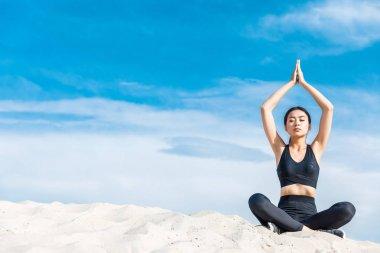 woman meditating with namaste mudra