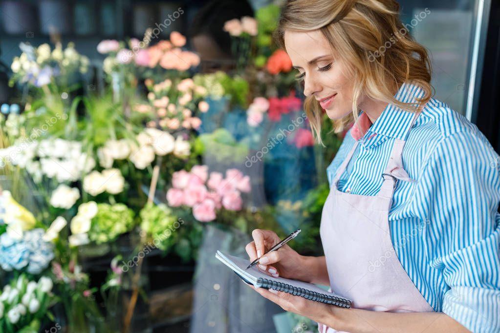 florist taking notes
