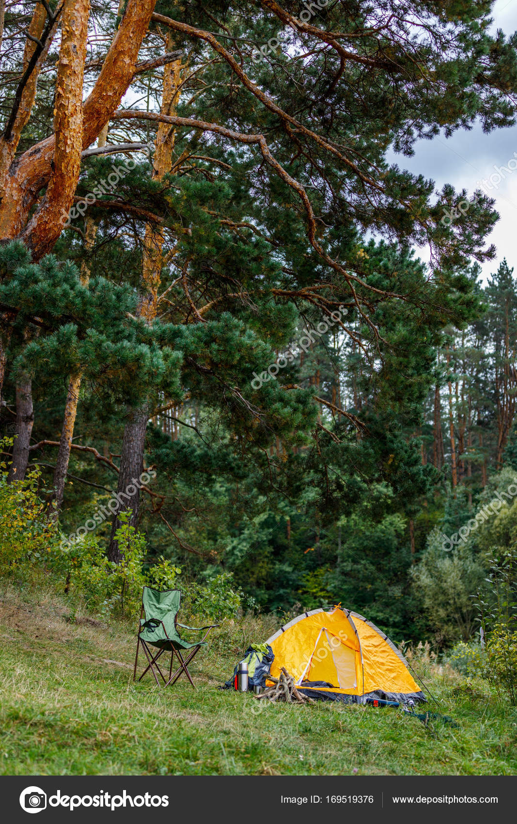 C&ing with tent in forest u2014 Stock Photo & camping with tent in forest u2014 Stock Photo © SashaKhalabuzar #169519376