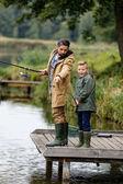 Fotografie Vater und Sohn Angeln am See