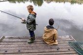 otec a syn rybářské pruty