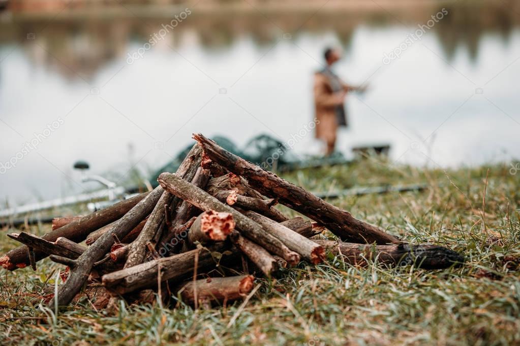 sticks for bonfire on countryside