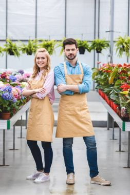 Couple of gardeners standing among flowers in glasshouse