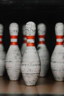 Close-up shot of grungy bowling pins stock vector