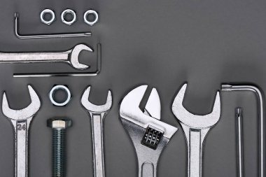 Top view of set of various work tools on grey stock vector
