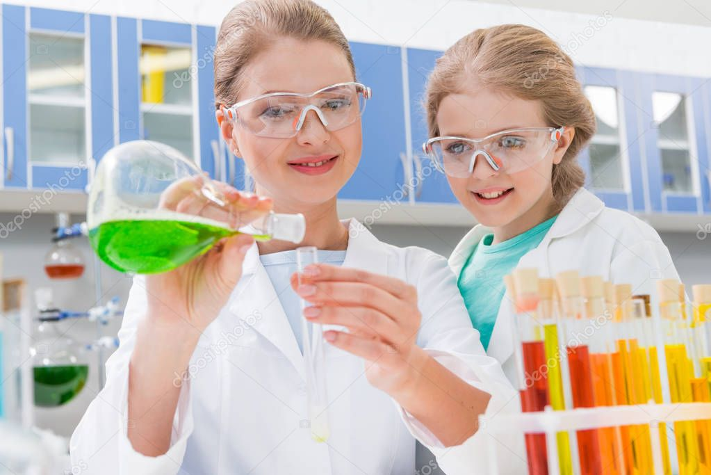 scientist and girl with tubes