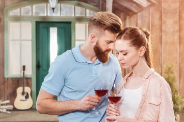 Tender couple with wineglasses