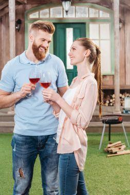 happy couple with wineglasses