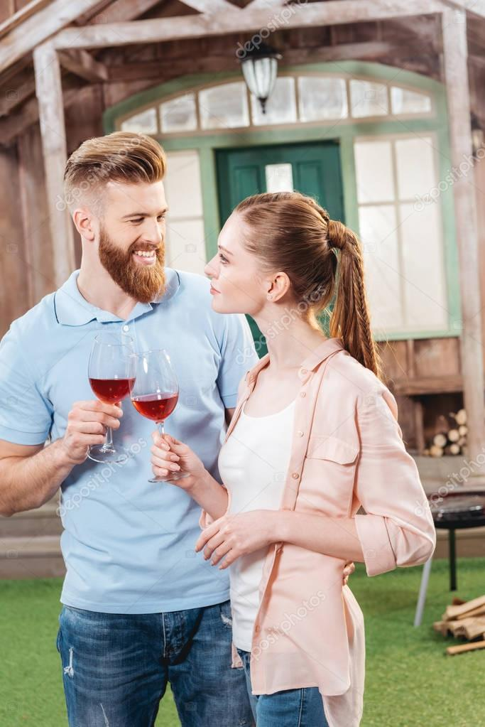 happy couple with wineglasses