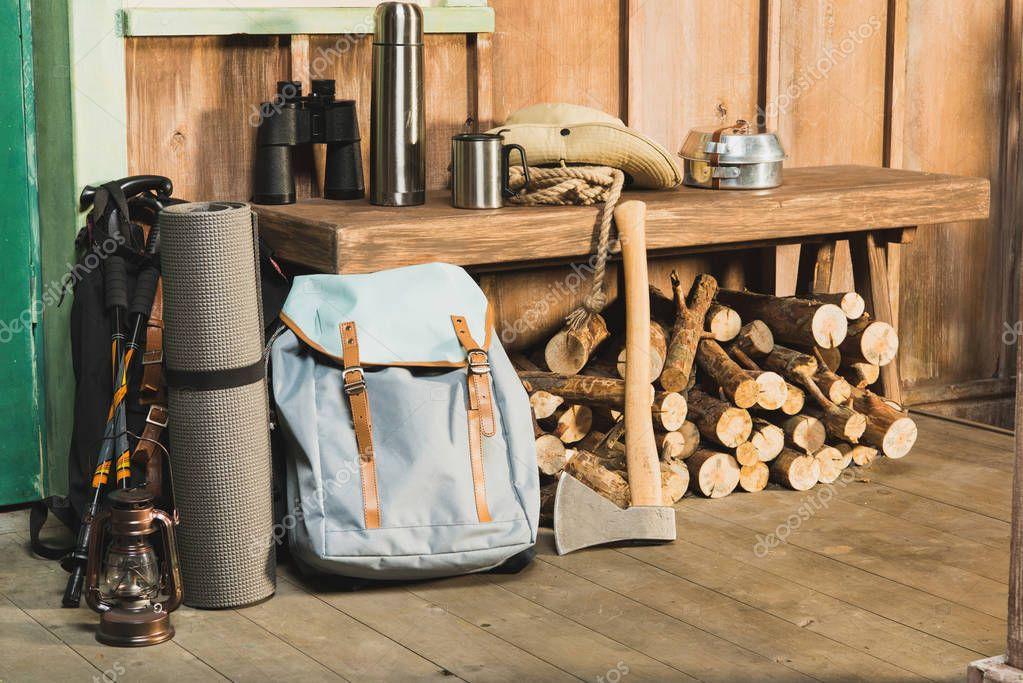 different trekking equipment on bench