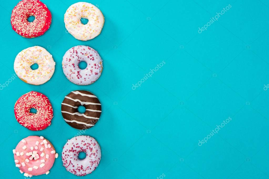Several donuts with various glaze