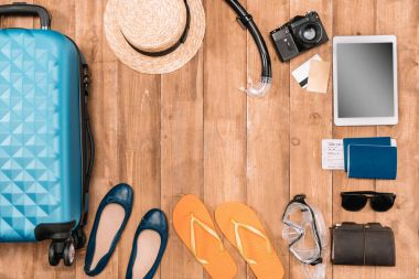 Travel background with tourist's outfit