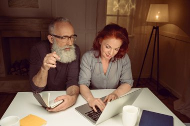 Middle aged couple working on laptop