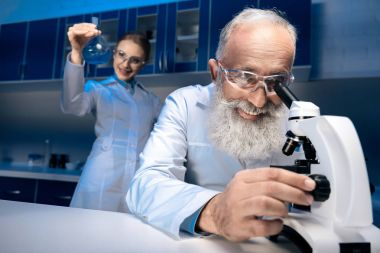 scientists working with reagent