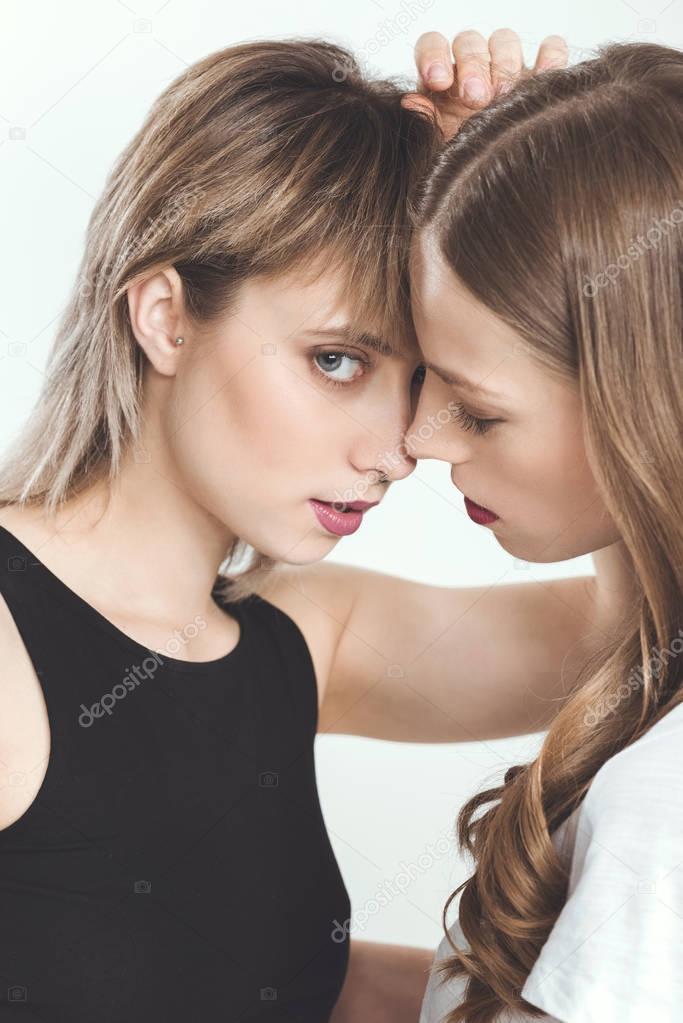 Beautiful young lesbian couple — Stock Photo © DimaBaranow