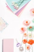 Fotografie decorative flowers and stationery items