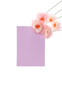 Close-up view of handmade flowers with blank card arranged isolated on white stock vector
