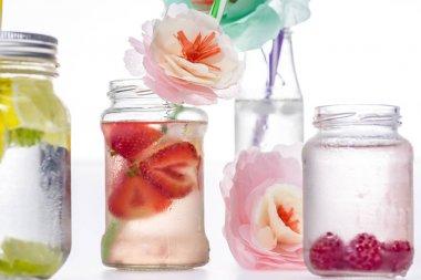 berries drinks and flowers
