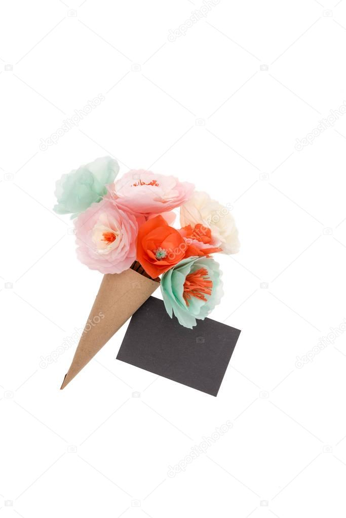 Decorative handmade flowers and blank postcard isolated on white stock vector