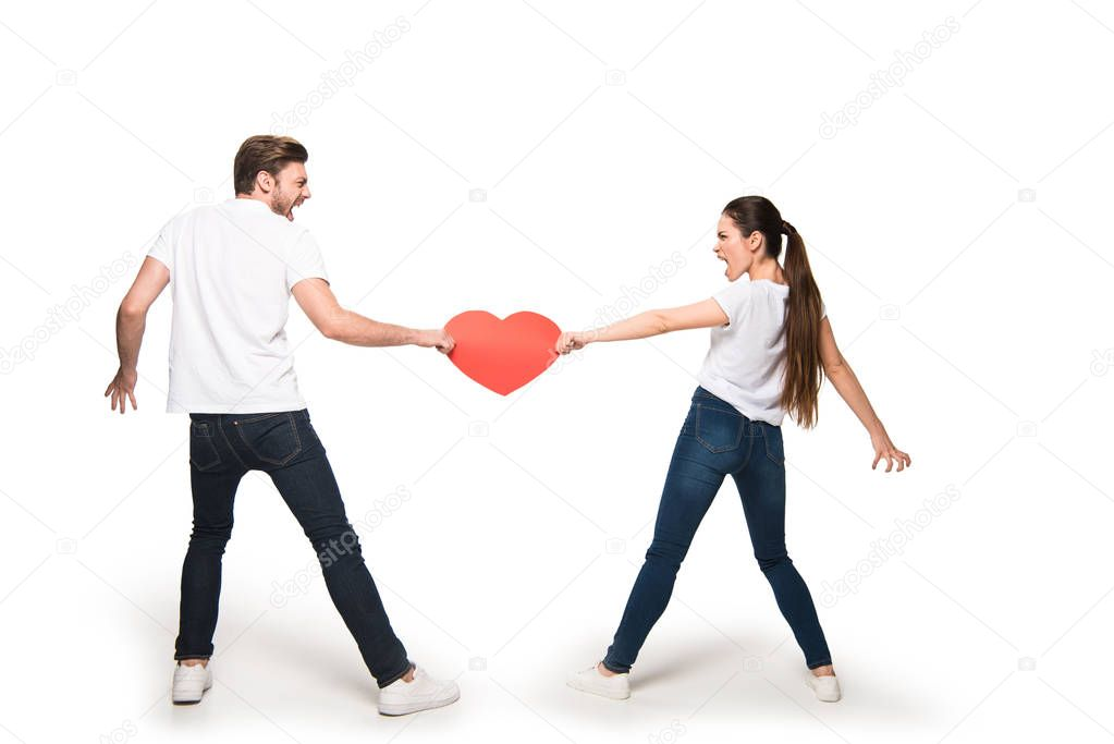 couple with heart quarreling