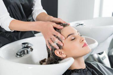 woman having hair wash