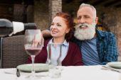 šťastný pár senior v krajině