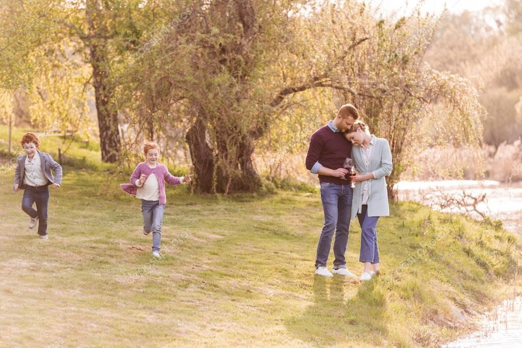 Family at countryside