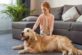 Photo child petting dog at home