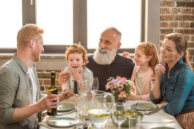 Family having dinner at home