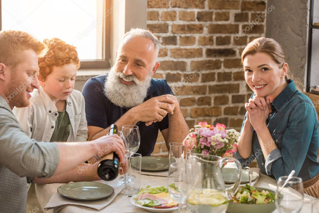 family having dinner at home