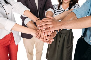 Cropped shot of young friends putting hands together isolated on white stock vector