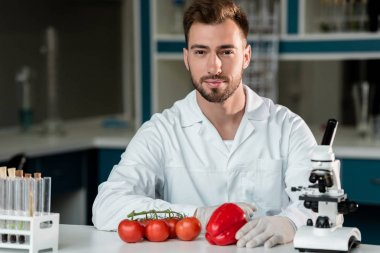 Scientist examining vegetables