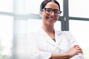 Beautiful scientist in eyeglasses