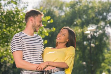 multiethnic couple embracing in park