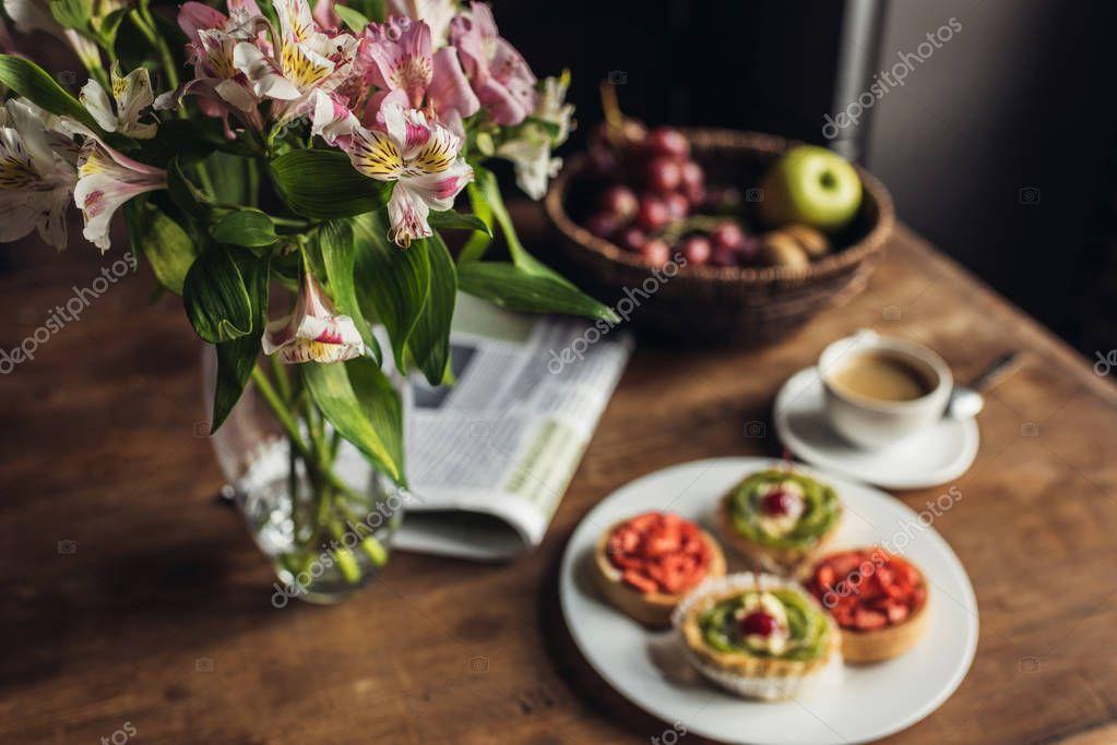 breakfast on kitchen table