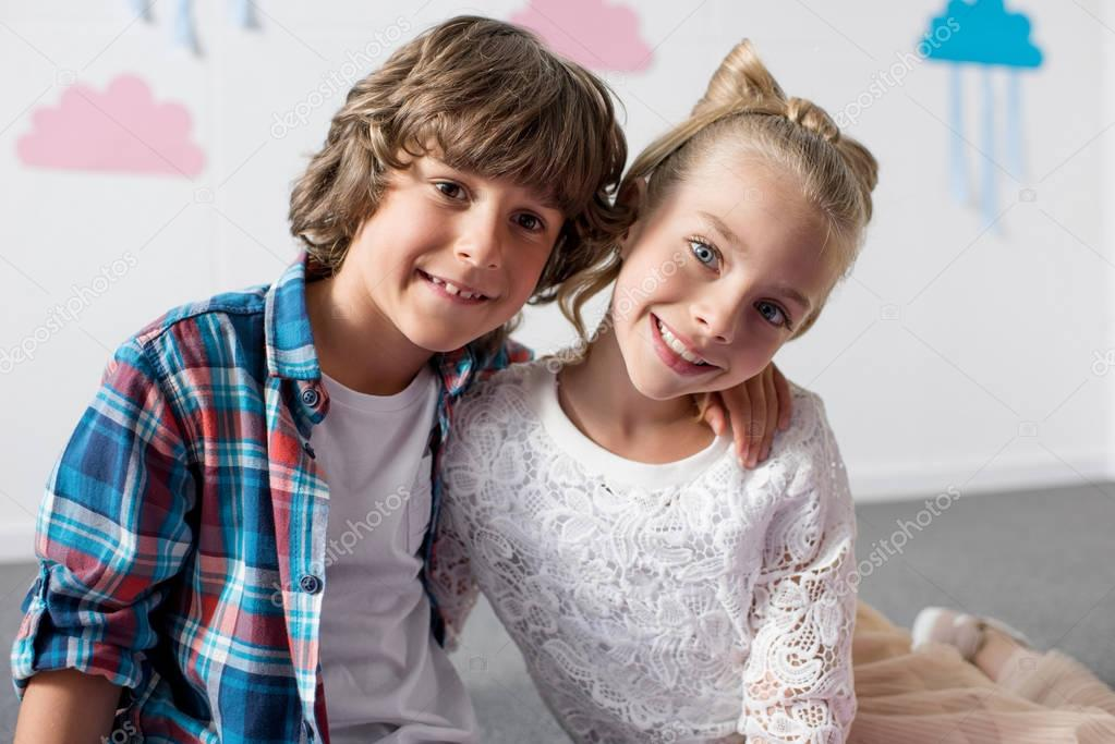 Beautiful smiling boy and girl