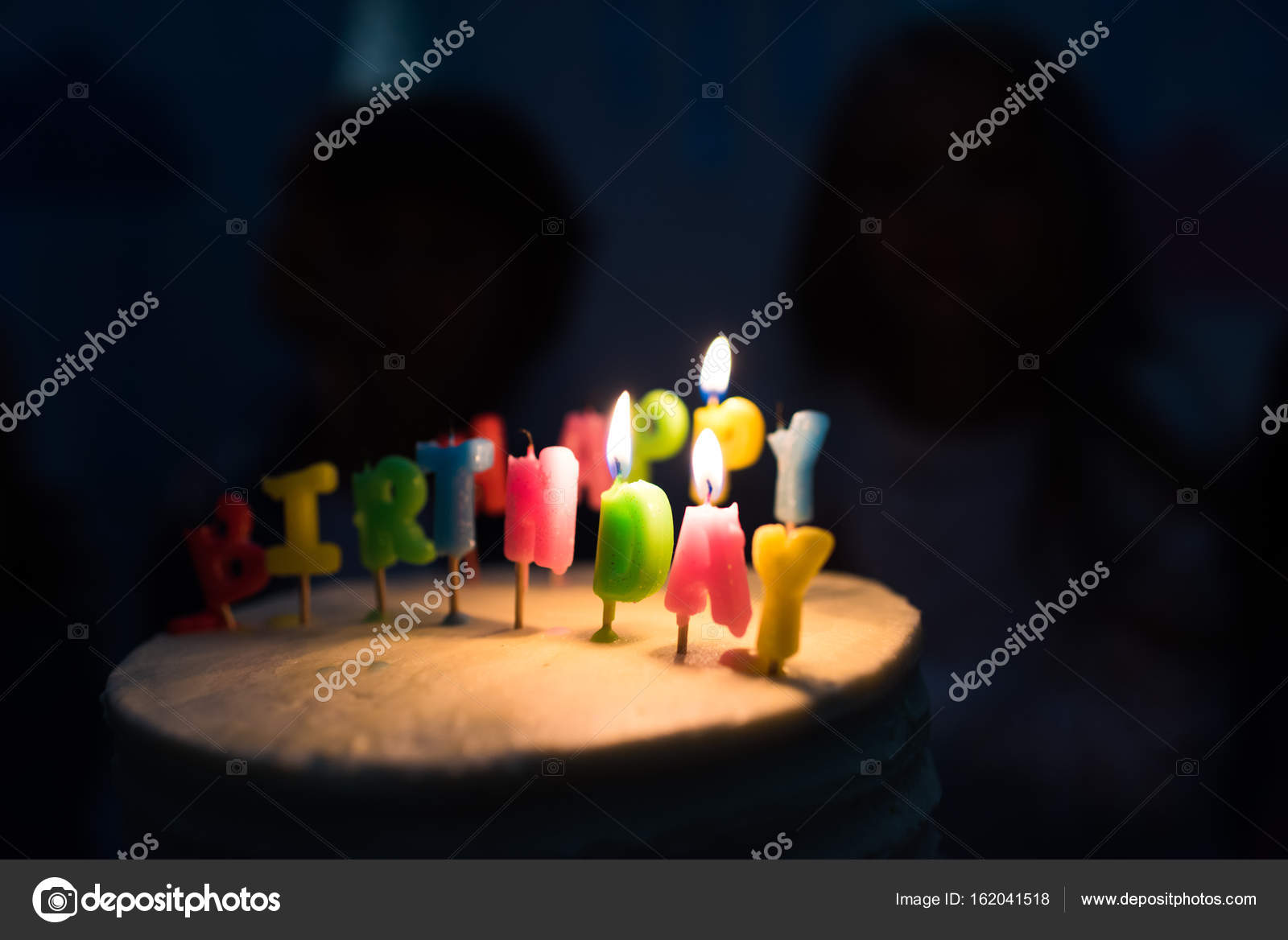 Birthday Cake With Burning Candles Stock Image