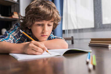 Portrait of focused little boy writing in copybook while sitting at table stock vector