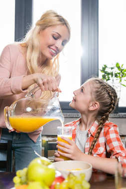 mother and daughter with juice